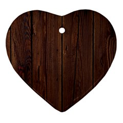 Rustic Dark Brown Wood Wooden Fence Background Elegant Natural Country Style Heart Ornament (two Sides) by yoursparklingshop