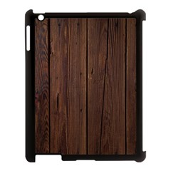 Rustic Dark Brown Wood Wooden Fence Background Elegant Natural Country Style Apple Ipad 3/4 Case (black) by yoursparklingshop