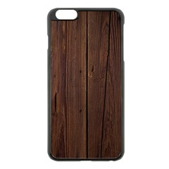 Rustic Dark Brown Wood Wooden Fence Background Elegant Natural Country Style Apple Iphone 6 Plus/6s Plus Black Enamel Case by yoursparklingshop