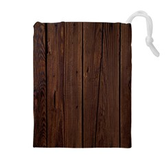 Rustic Dark Brown Wood Wooden Fence Background Elegant Natural Country Style Drawstring Pouches (extra Large)