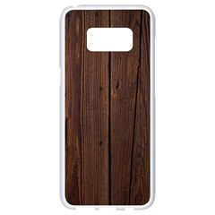 Rustic Dark Brown Wood Wooden Fence Background Elegant Natural Country Style Samsung Galaxy S8 White Seamless Case by yoursparklingshop