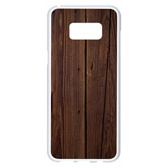 Rustic Dark Brown Wood Wooden Fence Background Elegant Natural Country Style Samsung Galaxy S8 Plus White Seamless Case by yoursparklingshop