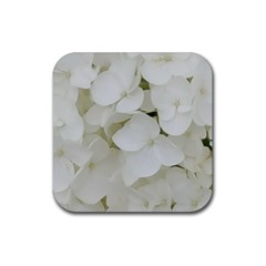 Hydrangea Flowers Blossom White Floral Elegant Bridal Chic Rubber Square Coaster (4 Pack)  by yoursparklingshop