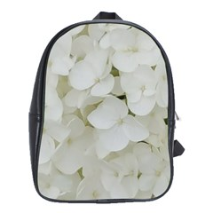 Hydrangea Flowers Blossom White Floral Elegant Bridal Chic School Bag (large) by yoursparklingshop