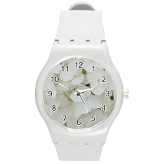 Hydrangea Flowers Blossom White Floral Elegant Bridal Chic Round Plastic Sport Watch (m) by yoursparklingshop