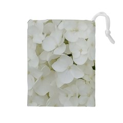 Hydrangea Flowers Blossom White Floral Elegant Bridal Chic Drawstring Pouches (large)  by yoursparklingshop