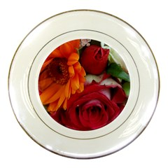Floral Photography Orange Red Rose Daisy Elegant Flowers Bouquet Porcelain Plates by yoursparklingshop