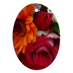 Floral Photography Orange Red Rose Daisy Elegant Flowers Bouquet Oval Ornament (two Sides) by yoursparklingshop