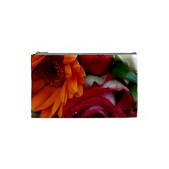 Floral Photography Orange Red Rose Daisy Elegant Flowers Bouquet Cosmetic Bag (small)  by yoursparklingshop