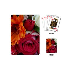 Floral Photography Orange Red Rose Daisy Elegant Flowers Bouquet Playing Cards (mini)  by yoursparklingshop