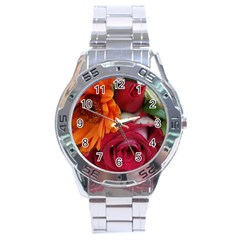 Floral Photography Orange Red Rose Daisy Elegant Flowers Bouquet Stainless Steel Analogue Watch by yoursparklingshop