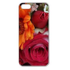Floral Photography Orange Red Rose Daisy Elegant Flowers Bouquet Apple Seamless Iphone 5 Case (clear) by yoursparklingshop