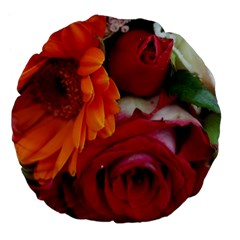 Floral Photography Orange Red Rose Daisy Elegant Flowers Bouquet Large 18  Premium Flano Round Cushions by yoursparklingshop