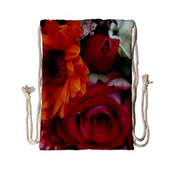 Floral Photography Orange Red Rose Daisy Elegant Flowers Bouquet Drawstring Bag (small) by yoursparklingshop