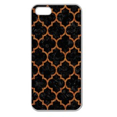 Tile1 Black Marble & Teal Leather (r) Apple Seamless Iphone 5 Case (clear) by trendistuff