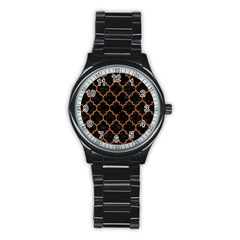 Tile1 Black Marble & Teal Leather (r) Stainless Steel Round Watch by trendistuff