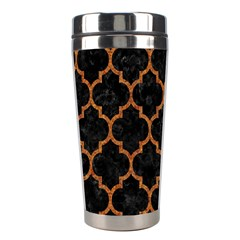 Tile1 Black Marble & Teal Leather (r) Stainless Steel Travel Tumblers by trendistuff