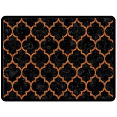 Tile1 Black Marble & Teal Leather (r) Double Sided Fleece Blanket (large)