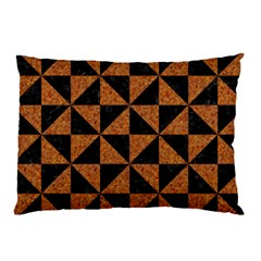 Triangle1 Black Marble & Teal Leather Pillow Case by trendistuff