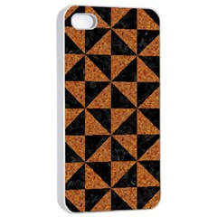 Triangle1 Black Marble & Teal Leather Apple Iphone 4/4s Seamless Case (white) by trendistuff
