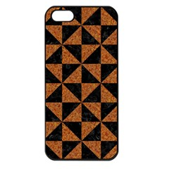 Triangle1 Black Marble & Teal Leather Apple Iphone 5 Seamless Case (black) by trendistuff