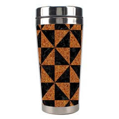 Triangle1 Black Marble & Teal Leather Stainless Steel Travel Tumblers by trendistuff