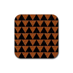 Triangle2 Black Marble & Teal Leather Rubber Coaster (square)  by trendistuff