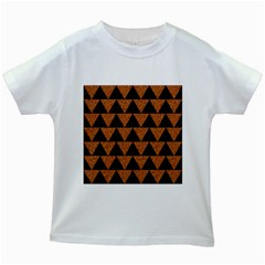 Triangle2 Black Marble & Teal Leather Kids White T Shirts