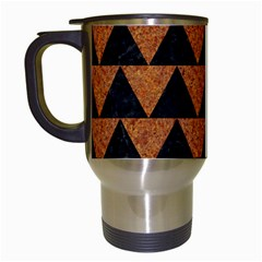 Triangle2 Black Marble & Teal Leather Travel Mugs (white) by trendistuff
