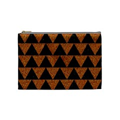Triangle2 Black Marble & Teal Leather Cosmetic Bag (medium)  by trendistuff