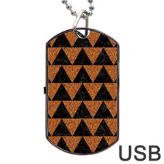 Triangle2 Black Marble & Teal Leather Dog Tag Usb Flash (two Sides) by trendistuff