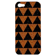 Triangle2 Black Marble & Teal Leather Apple Iphone 5 Hardshell Case by trendistuff