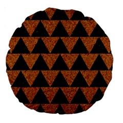 Triangle2 Black Marble & Teal Leather Large 18  Premium Round Cushions by trendistuff