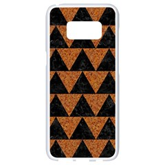 Triangle2 Black Marble & Teal Leather Samsung Galaxy S8 White Seamless Case by trendistuff