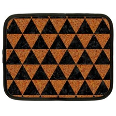 Triangle3 Black Marble & Teal Leather Netbook Case (large) by trendistuff