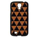 TRIANGLE3 BLACK MARBLE & TEAL LEATHER Samsung Galaxy S4 I9500/ I9505 Case (Black) Front