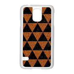 Triangle3 Black Marble & Teal Leather Samsung Galaxy S5 Case (white) by trendistuff