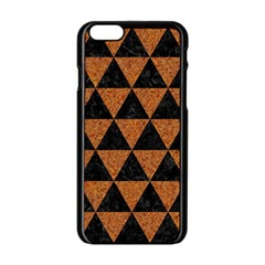 Triangle3 Black Marble & Teal Leather Apple Iphone 6/6s Black Enamel Case by trendistuff