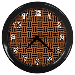 Woven1 Black Marble & Teal Leather Wall Clocks (black) by trendistuff