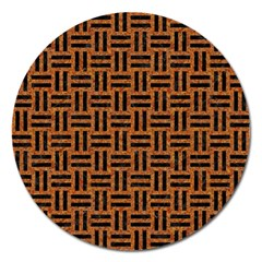 Woven1 Black Marble & Teal Leather Magnet 5  (round) by trendistuff