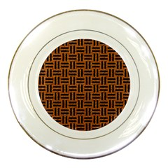 Woven1 Black Marble & Teal Leather Porcelain Plates by trendistuff