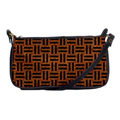 Woven1 Black Marble & Teal Leather Shoulder Clutch Bags by trendistuff