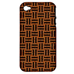 Woven1 Black Marble & Teal Leather Apple Iphone 4/4s Hardshell Case (pc+silicone) by trendistuff