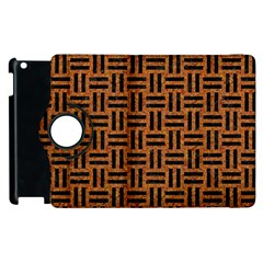 Woven1 Black Marble & Teal Leather Apple Ipad 2 Flip 360 Case by trendistuff
