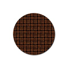Woven1 Black Marble & Teal Leather (r)	 Rubber Round Coaster (4 Pack)  by trendistuff