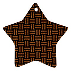 Woven1 Black Marble & Teal Leather (r)	 Star Ornament (two Sides)