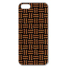 Woven1 Black Marble & Teal Leather (r)	 Apple Seamless Iphone 5 Case (clear) by trendistuff