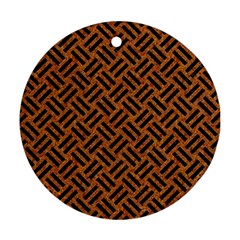 Woven2 Black Marble & Teal Leather Round Ornament (two Sides) by trendistuff