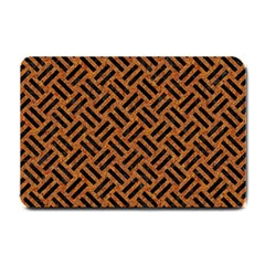 Woven2 Black Marble & Teal Leather Small Doormat  by trendistuff