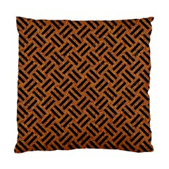 Woven2 Black Marble & Teal Leather Standard Cushion Case (two Sides) by trendistuff